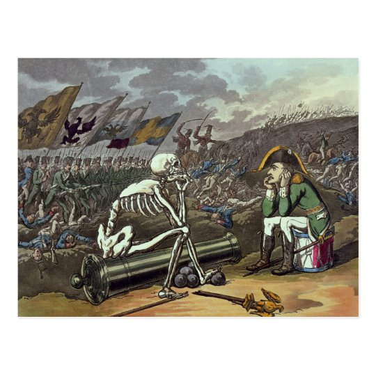 Napoleon and skeleton, 18th postcard