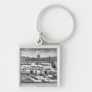 Napoleon Bonaparte  First Consul, ReviewingTroops Silver-Colored Square Keychain