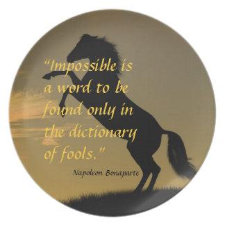 Napoleon Bonaparte Powerful Quote horse background Plate