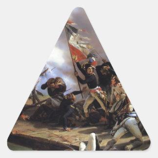 Napoleon Bonaparte que lleva a sus tropas Pegatina Triangular