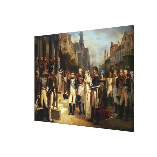 Napoleon Bonaparte que recibe a la reina Louisa Lona Estirada Galerías