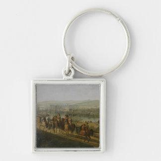 Napoleon Bonaparte que visita el campo en Llavero Cuadrado Plateado