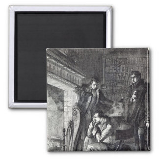 Napoleon brooding by the fire 2 inch square magnet