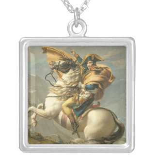 Napoleon  Crossing the Alps at the St Bernard Silver Plated Necklace