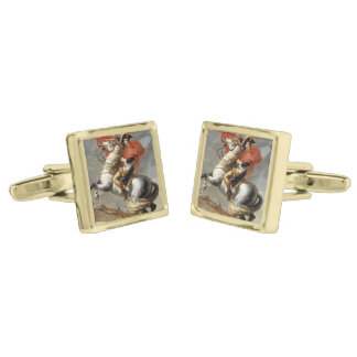 Napoleon Crossing the Alps by Jacques Louis David Gold Cufflinks