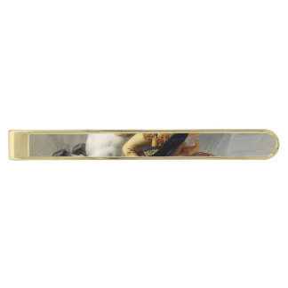 Napoleon Crossing the Alps by Jacques Louis David Gold Finish Tie Clip