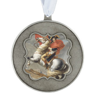 Napoleon Crossing the Alps by Jacques Louis David Scalloped Pewter Christmas Ornament