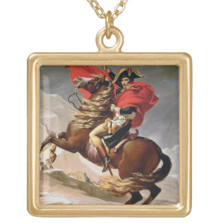 Napoleon Crossing the Alps, c.1800 (oil on canvas) Gold Plated Necklace