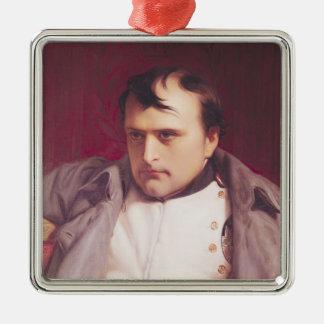 Napoleon después de su abdicación adorno cuadrado plateado