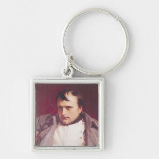 Napoleon después de su abdicación llavero cuadrado plateado