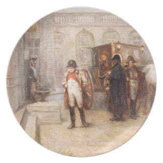Napoleon después de Waterloo (aceite en lona) Plato