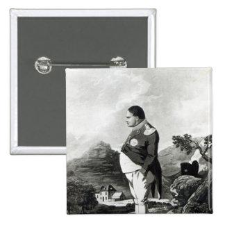 Napoleon en la isla de St. Helena, 1820 Pin Cuadrado