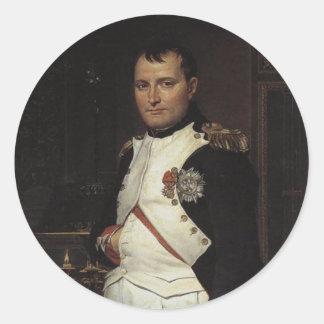 Napoleon en su estudio de Jacques Louis David Pegatina Redonda