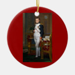 Napoleon en su estudio en el ornamento adorno navideño redondo de cerámica