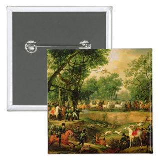 Napoleon en una caza en el bosque de Compiegne, 18 Pin Cuadrado