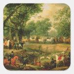 Napoleon en una caza en el bosque de Compiegne, Pegatina Cuadrada