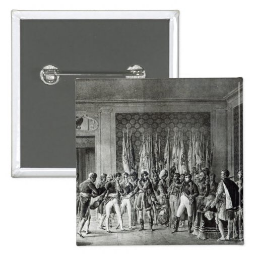 Napoleon gives the flags won at Austerlitz Pinback Buttons