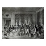 Napoleon gives the flags won at Austerlitz Poster