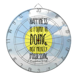 """Napoleon Hill quote, """"Happiness is found in doing"""" Dart Boards"""