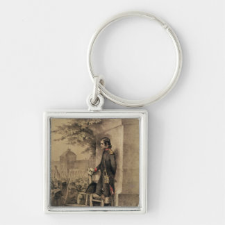 Napoleon I at the Siege of the Tuileries Silver-Colored Square Keychain