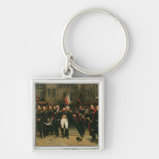 Napoleon I  Bidding Farewell to the Imperial Silver-Colored Square Keychain