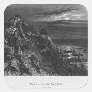 Napoleon I Bonaparte  crossing the River Square Sticker