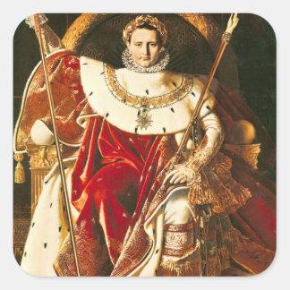 Napoleon I en el trono imperial, 1806 Pegatina Cuadrada