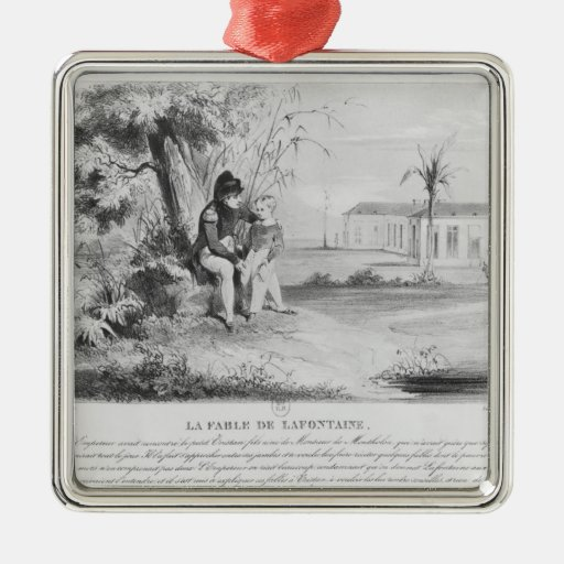 Napoleon I en la isla de St. Helena Adorno Navideño Cuadrado De Metal