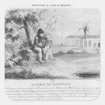 Napoleon I en la isla de St. Helena Pegatina Cuadrada