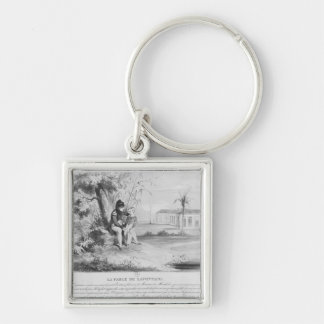 Napoleon I  on the island of St. Helena Silver-Colored Square Keychain
