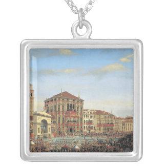 Napoleon I  Presiding over a Regatta in Venice Silver Plated Necklace