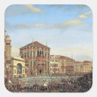 Napoleon I  Presiding over a Regatta in Venice Square Sticker