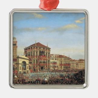 Napoleon I que preside un Regatta en Venecia Adorno Cuadrado Plateado