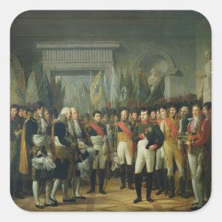 Napoleon I que recibe a los diputados Pegatina Cuadradas Personalizadas