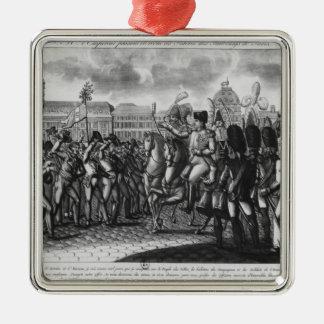 Napoleon I que revisa el Federes del parisiense Adorno Navideño Cuadrado De Metal