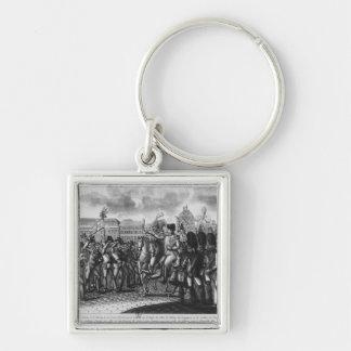 Napoleon I que revisa el Federes del parisiense Llavero Cuadrado Plateado