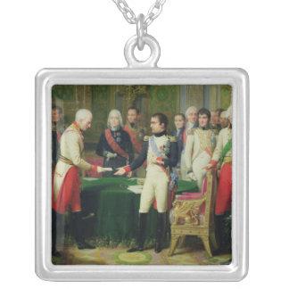 Napoleon I  Receiving Baron Vincent Square Pendant Necklace