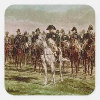 Napoleon I y su personal, c.1860 Pegatina Cuadrada