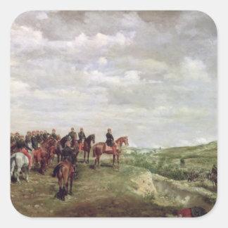 Napoleon III (1808-73) en la batalla de Solferino Pegatina Cuadrada