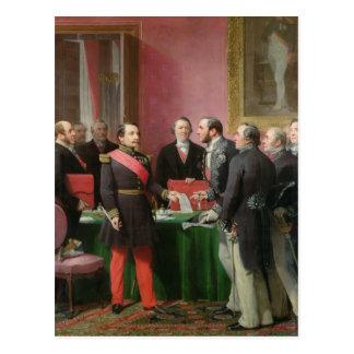 Napoleon III entrega el decreto Postal