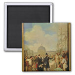 Napoleon III que visita los trabajos en el Louvre Iman Para Frigorífico