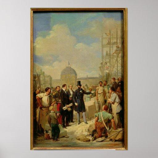 Napoleon III que visita los trabajos en el Louvre Impresiones