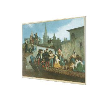 Napoleon III  Visiting Flood Victims of Canvas Print