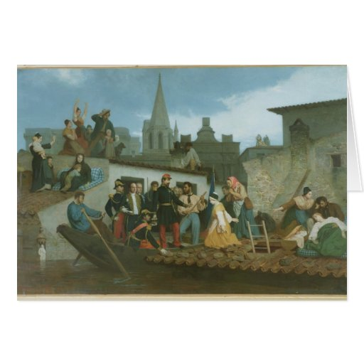 Napoleon III  Visiting Flood Victims of Card
