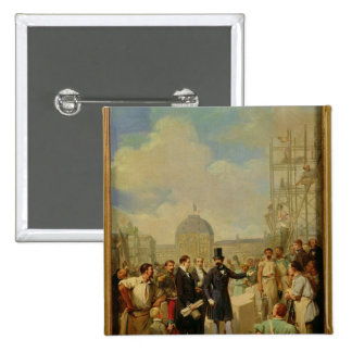 Napoleon III Visiting the Works at the Louvre Pinback Button