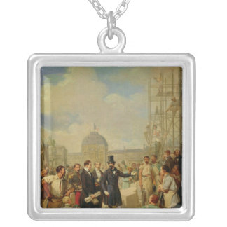 Napoleon III Visiting the Works at the Louvre Silver Plated Necklace
