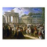 Napoleon in Berlin near the Brandenburg Gate Postcard
