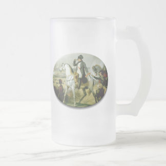 Napoleon on a horse frosted glass beer mug