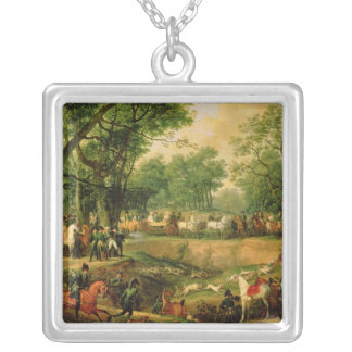 Napoleon on a hunt in the Compiegne Forest, 1811 Square Pendant Necklace