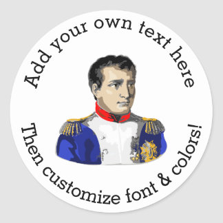 Napoleon Poster Style Drawing Classic Round Sticker